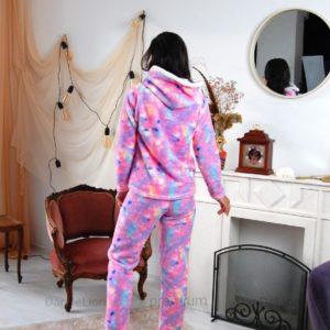Приобрести дешево женскую теплую пижаму с капюшоном (размер 42-50) розового цвета