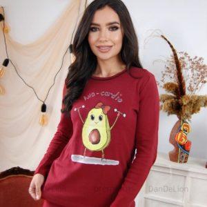 Купить по скидке женскую пижаму с авокадо (размер 42-50) бордо
