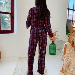 Купити червону жіночу плюшеву піжаму в клітку (розмір 42-50) онлайн