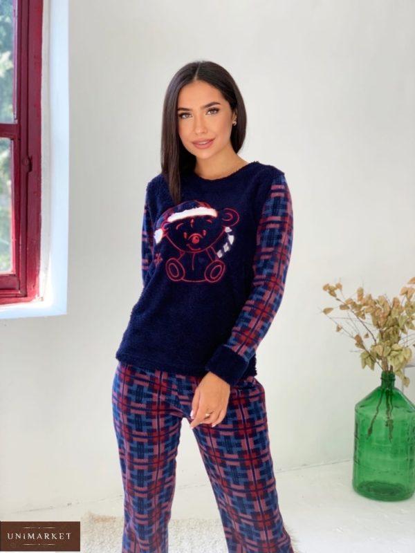 Заказать дешево женскую плюшевую пижаму в клетку (размер 42-50) синего цвета