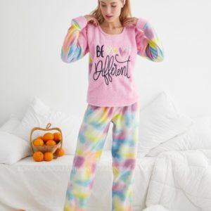 Купити рожеву жіночу яскраву плюшеву піжаму (розмір 42-48) онлайн