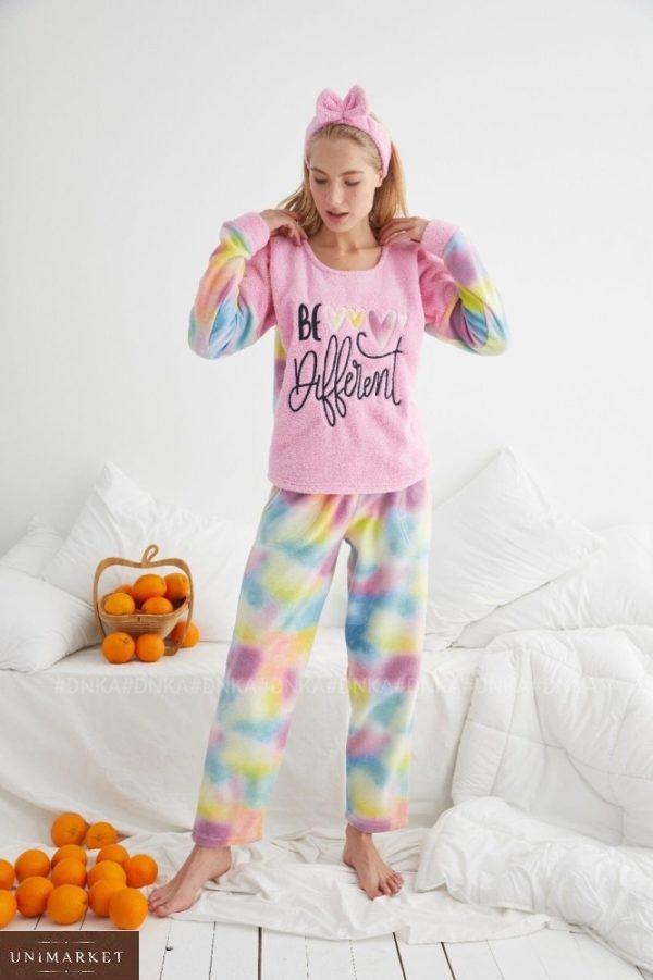 Купить розовую женскую яркую плюшевую пижаму (размер 42-48) онлайн