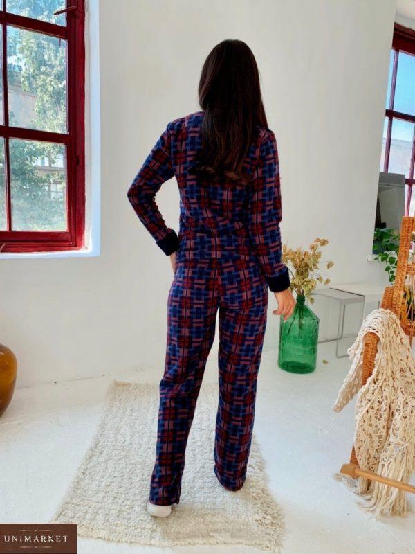 Приобрести женскую синюю плюшевую пижаму в клетку (размер 42-50) выгодно