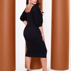 Заказать онлайн черное женское платье с бахромой из страз (размер 42-60)
