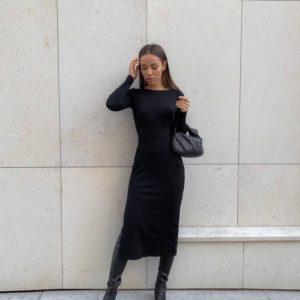 Заказать черное женское трикотажное платье с открытой спиной (размер 42-48) онлайн