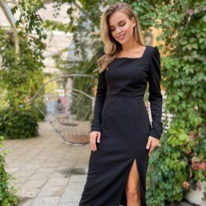 Купить черное женское элегантное платье с разрезом по скидке
