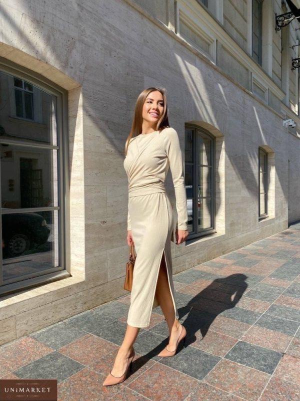 Купить по скидке бежевое трикотажное платье с драпировкой (размер 42-48) для женщин