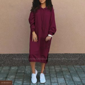 Купить женское недорого платье миди на флисе с капюшоном (размер 42-56) марсала