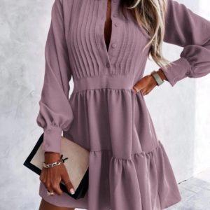 Купить онлайн женское свободное платье с рюшами (размер 42-56) фреза