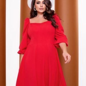 Купить красное женское платье с объемными рукавами (размер 42-52) по скидке
