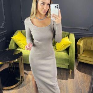Заказать беж женское трикотажное платье миди с разрезом онлайн