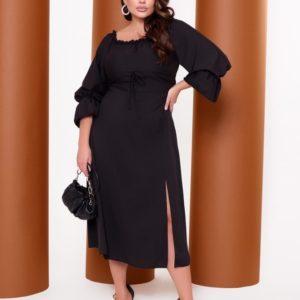 Купить черное платье миди из софт-шёлка (размер 42-64) для женщин дешево