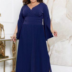 Купить синее женское длинное платье с разрезами (размер 48-70) онлайн