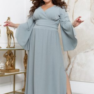 Заказать серое женское длинное платье с люрексовой нитью (размер 48-70) в Украине
