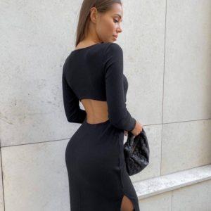 Купить выгодно черное женское трикотажное платье с открытой спиной (размер 42-48)
