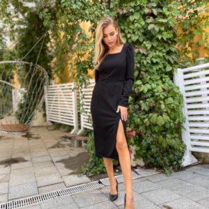 Заказать недорого черное элегантное платье с разрезом для женщин