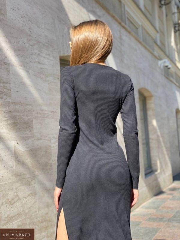 Приобрести выгодно черное трикотажное платье с драпировкой (размер 42-48) для женщин