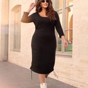 Купить онлайн женское трикотажное платье с драпировкой (размер 42-56) черного цвета