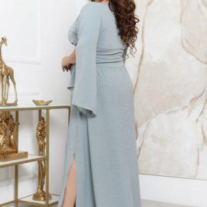Купить по скидке серое длинное платье с люрексовой нитью (размер 48-70) для женщин