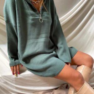 Купить женское недорого платье из ангоры со змейкой оливка