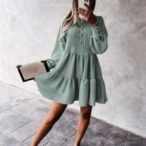 Купить оливковое женское свободное платье с рюшами (размер 42-56) по низким ценам