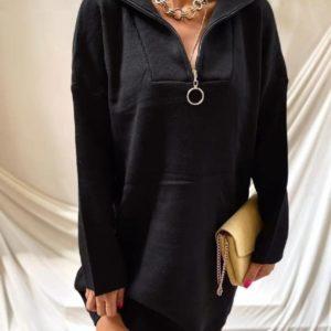Заказать черное женское платье из ангоры со змейкой в интернете