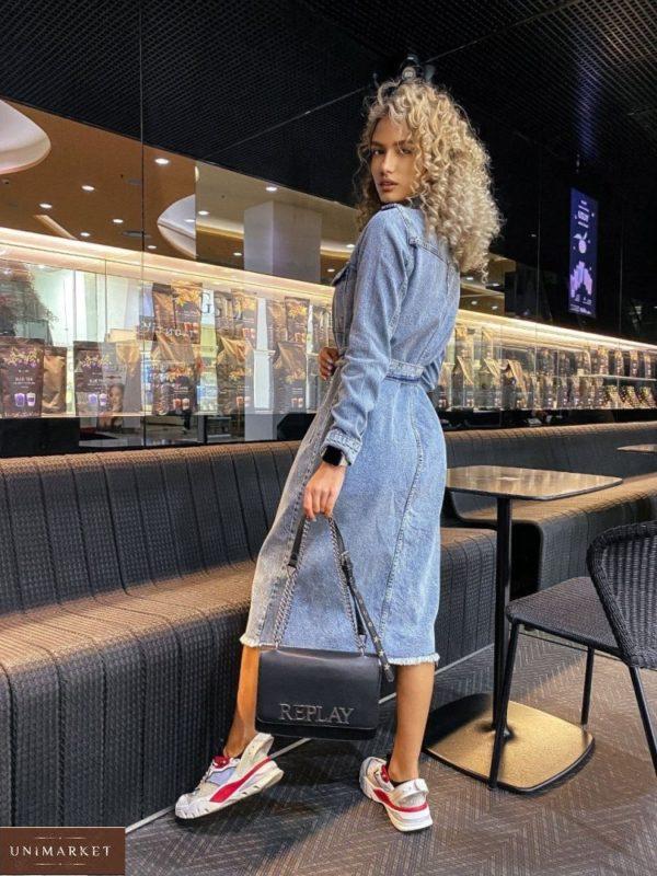 Приобрести недорого голубое джинсовое платье миди с поясом (размер 42-48) для женщин