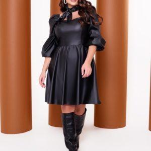 Заказать женское кожаное платье с объемными рукавами (размер 42-52) черное онлайн