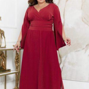 Заказать бордо женское длинное платье с разрезами (размер 48-70) в интернете