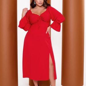 Купить красное дешевое платье миди из софт-шёлка (размер 42-64) для полных женщин
