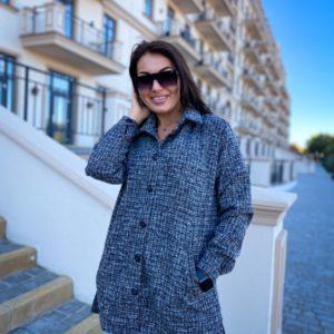 Купить женскую серую теплую удлиненную рубашку (размер 50-56) онлайн