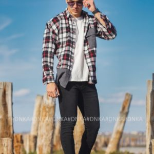 Купить недорого черную Рубашка в клетку (размер 48-54) для мужчин