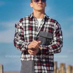 Заказать в интернете черно-белую мужскую Рубашка в клетку (размер 48-54)