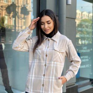Приобрести беж женскую теплую рубашку в клетку (размер 42-56) в Украине