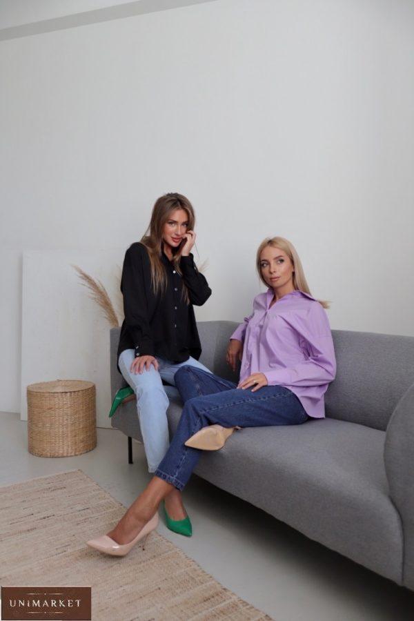 Заказать женскую черную, лиловую свободную рубашку из хлопка (размер 42-48) в интернете