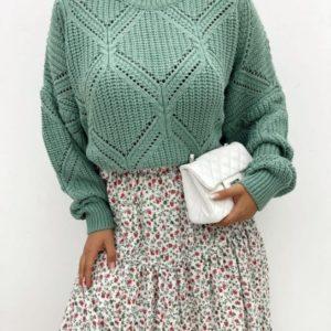Купить по скидке женский свободный свитер с узорами оливка