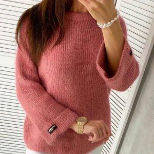 Заказать онлайн фуксия однотонный вязаный свитер (размер 42-48) для женщин