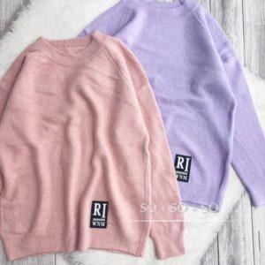 Заказать пудра, лиловый вязаный свитер с нашивкой по скидке для женщин
