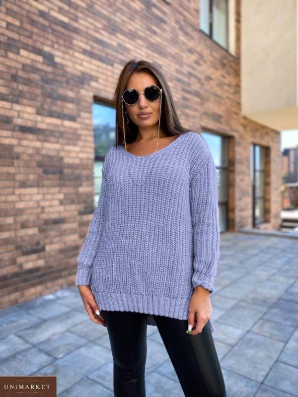 Заказать недорого голубой удлиненный вязаный свитер (размер 50-56) для женщин