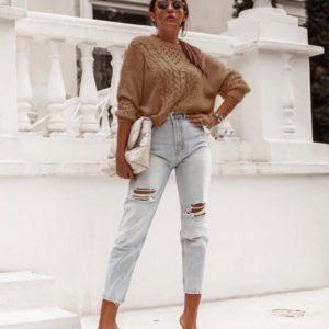 Заказать выгодно женский трикотажный свитер с узором кэмел