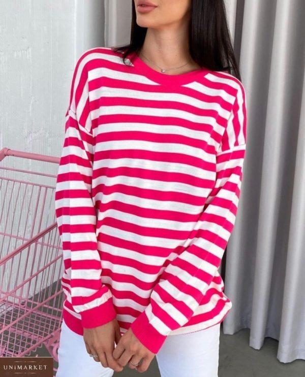 Купить малиновый женский полосатый свитер оверсайз (размер 42-48) по низким ценам