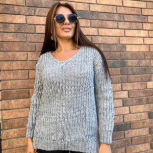 Купить серый женский удлиненный вязаный свитер (размер 50-56) по скидке