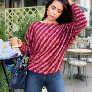 Заказать недорого марсала свитер в диагональную полоску (размер 42-56) для женщин