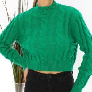 Заказать зеленый женский короткий свитер с узором по скидке