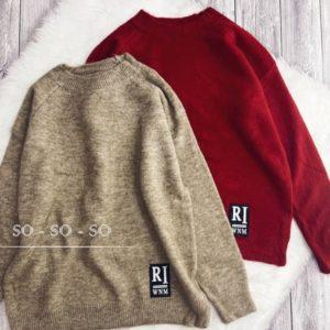 Купить по скидке бордовый, бежевый вязаный свитер с нашивкой женский
