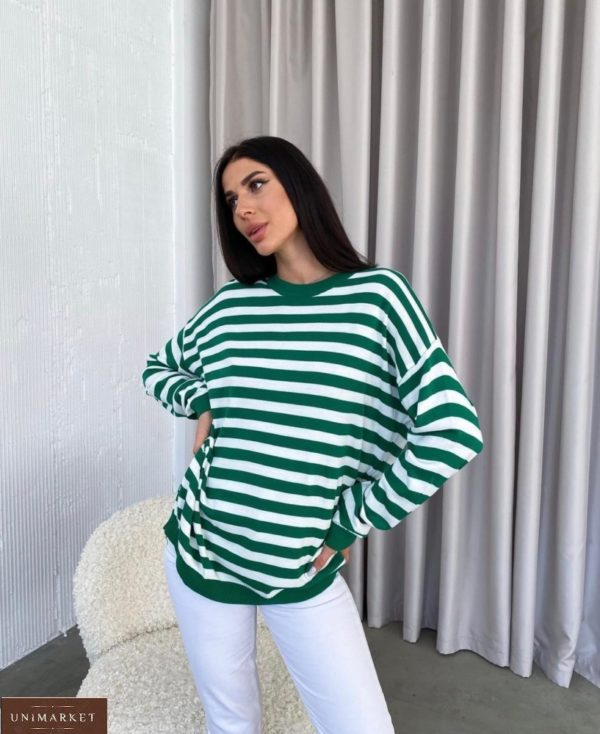 Приобрести выгодно зеленый полосатый свитер оверсайз (размер 42-48) для женщин