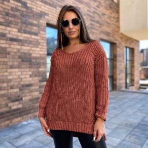 Заказать по скидке терракотовый удлиненный вязаный свитер (размер 50-56) для женщин