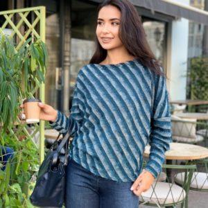 Купить женский свитер в диагональную полоску (размер 42-56) цвета хаки в Украине
