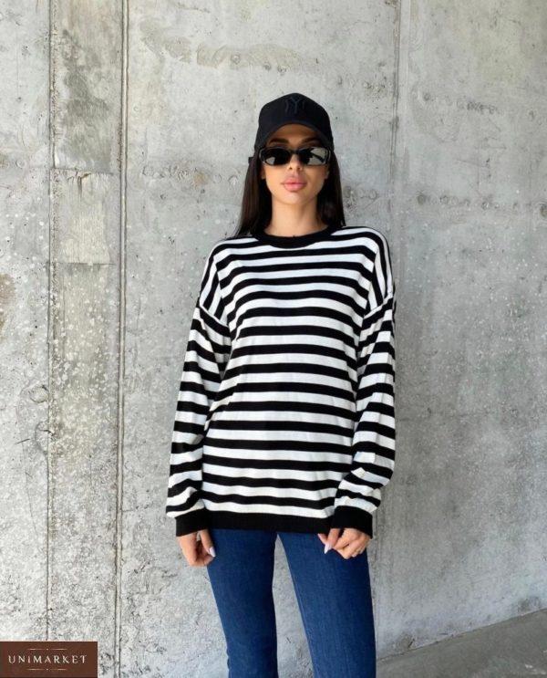 Купить черный женский онлайн полосатый свитер оверсайз (размер 42-48)