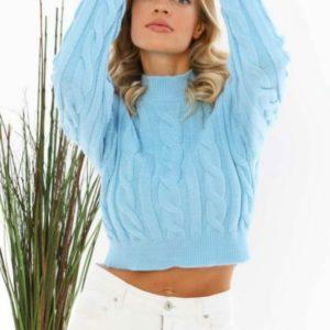 Приобрести голубой короткий свитер с узором для женщин в интернете